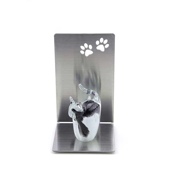 Dieren urn - Kat zwart/wit RVS gedenkstandaard